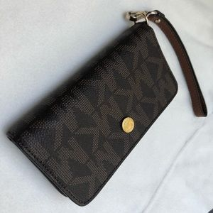Michael Kors Brown & Gold Wristlet